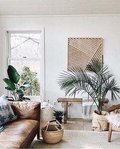 Home Interior Decoration Boho Chic living room ideas - Modern bohemian living room with plants Boho Chic Living Room, Casual Living Rooms, Living Room Modern, Living Room Interior, Living Room With Plants, Small Living, Living Area, Cozy Living, Tropical Living Rooms