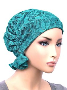 ABBEY-569#The Abbey Cap in Lace Sequin Turquoise