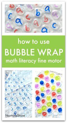 Fine motor bubble wrap activity for finger gyms, bubble wrap math activities, fine motor literacy activities