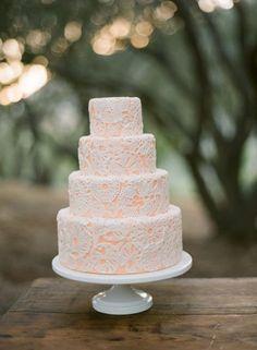 White & Peach Lace Cake