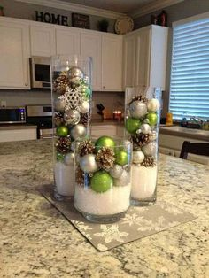 Pleasing Decorative Vases With Snowflake Acorns And Christmas Ornaments