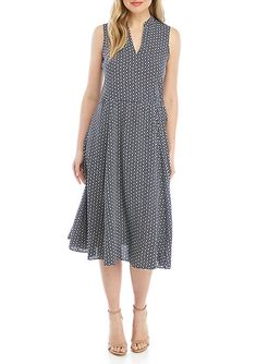def4d9a9d51 Anne Klein Sleeveless Drawstring Midi Dress