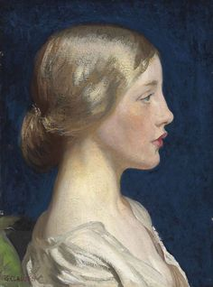 Lily.1916. Oil on Canvas. 40.7 x 30.5 cm. Art by Sir George Clausen.(1852-1944).