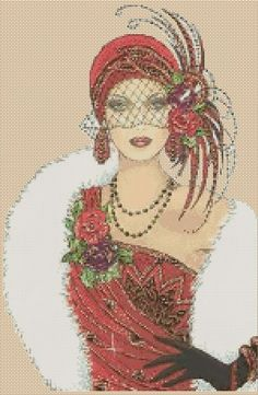 Amazing image is the creation of Flower Power37-UK......Cross Stitch Chart ART DECO LADY IN RED DRESS AND WHITE FUR COAT No.5vb-39