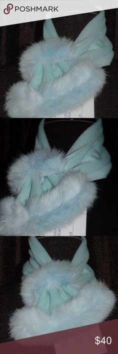 """Knit and Rabbit Fur Scarf  - baby blue Knit and Rabbit Fur Scarf     brand: DiRiviera    length: 20"""" DiRiviera Accessories Scarves & Wraps"""