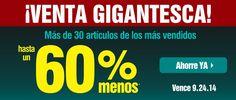 VENTA GIGANTESCA  HASTA EL 24 DE SEPTIEMBRE  HASTA UN 60% MENOS EN   30 DE LOS PRODUCTOS MÁS VENDIDOS http://es.puritan.com/search?scid=29135