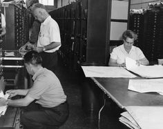 Census Bureau employees work on maps pre-TIGER