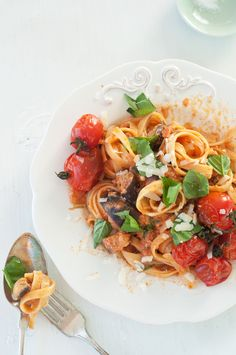 creamy tomato pasta with basil, spinach and eggplant