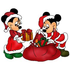 Mickey And Minnie Mouse - Christmas Clip Art Images