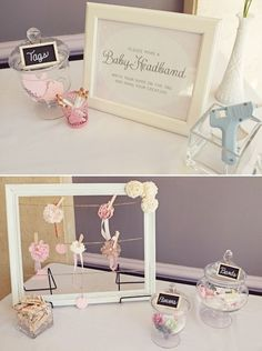 Shabby Chic Little Birdie Themed Baby Shower with pink tissue poms, a birdcage escort card display, roses + hydrangeas, chalkboard table numbers & pink ruffles!