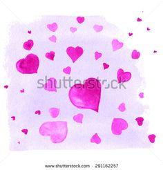 Vector watercolor background hearts
