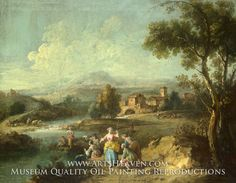 Painting Reproduction of Landscape with a Group of Figures Fishing, Giuseppe Zais