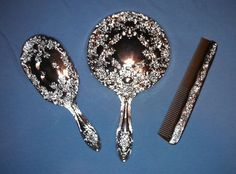Vintage Silver Plastic Child's Vanity 3 PC Set Mirror Brush Comb New | eBay