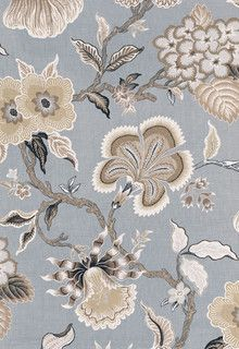 Hot House Flowers - Mineral - traditional - upholstery fabric - by F. Schumacher & Co.