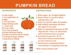 Vitality in the Kitchen, Pumpkin Bread recipe and card, perfect for your upcoming holiday events.
