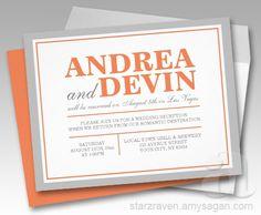 Gray & Orange Wedding Reception ONLY Invitations