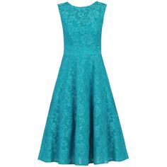 Jolie Moi Lace Bonded Fit And Flare Dress, Teal (£68) ❤ liked on Polyvore featuring dresses, maxi dress, cocktail dresses, blue lace dress, fit and flare dress and lace fit-and-flare dresses