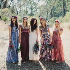 10 Fall Wedding Trends That We're Already Obsessing Over wedding dresscode 10 Fall Wedding Trends That We're Already Obsessing Over Mismatched Bridesmaid Dresses, Bridesmaids And Groomsmen, Floral Bridesmaids, Alternative Bridesmaid Dresses, Patterned Bridesmaid Dresses, Dress Code, Wedding Trends, Wedding Styles, Perfect Wedding