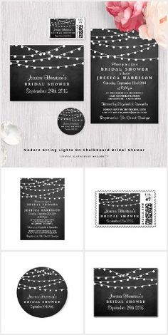 Modern String Lights On Chalkboard Bridal Shower. This rustic country wedding set / stationary / suite may include: Wedding invitation cards, wedding envelopes, wedding RSVP Cards, wedding address labels, save the dates, wedding programs, wedding thank you cards, rehearsal dinners, stamps and more matching wedding products. Click image to see all available matching items.