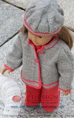 Poppenkleertjes breien voor baby born - elegant en goed geklede pop in grijs en koraal rood