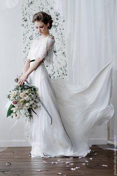 Embroidered Wedding Dress   Свадебное платье Право выбора - белый, шелк 100%, шелковое платье, молочный цвет, шелковый атлас