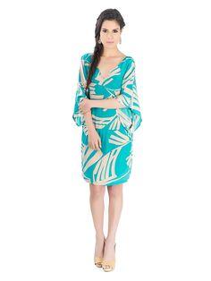 "Vestido de verano. Estampado ""Mini aqua leaves"" . De la diseñadora Karina Grimaldi."