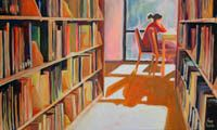 OROŃSKA Katarzyna (ORNO) (ur. 1984) Złota biblioteka, 2015 akryl, płótno, 70 x 100 cm, sygn. p.d.: ORNO OROŃSKA