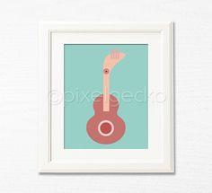 Modern Guitar Art Print  Teal and Indian Red Modern by pixelgecko, $14.90