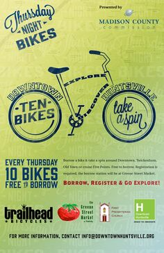 Thursday Night Bikes are on TONIGHT from 4-8 pm at Greene Street Market! Remember, it is FREE to borrow a bike!