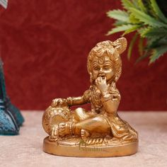 Lord Krishna Statue, Made of 100% Solid Brass for Your Home/ Workplace/ Office/ Desk/ Gifts — Completely Handmade By Indian Artisans, FREE Shipping Worldwide. Order Now! Krishna Statue, Lord Krishna, Office Desk Gifts, Solid Brass, Workplace, Religion, Sculptures, Idol, Indian