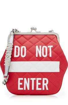 MOSCHINO Do Not Enter Leather Shoulder Bag. #moschino #bags #shoulder bags #hand bags #leather #