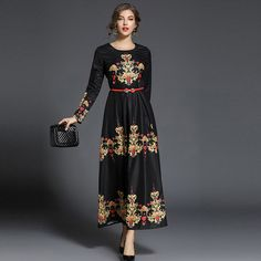 e1f2346b32f12 فستان ماكسي الأزهار المطبوعة أنيقة مع حزام تصميم لك! وصول الجدد! نمط   المطبوعة، عتيقة لون اسود مقاس  XS