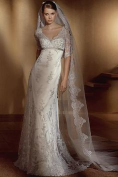 Amazing Sheath/Column V-neck Half-Sleeve Floor-length Lace Wedding Dresses (3AB0027)on Sale With Price USD$ 188.79 : weddingshes.com