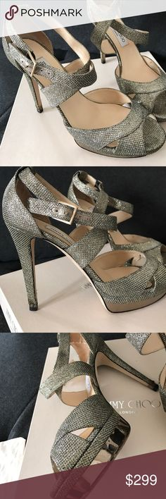 Jimmy Choo kuki lame glitter 40.5 pump platform Jimmy Choo size 40.5 kuki pumps light bronze/ antique color. Worn only once for my wedding. Condition as visible on pictures. Scuff on soles. Wear on heels. Jimmy Choo Shoes Heels