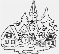 Maisons De Noel Et Village Sous La Neige A Colorier Coloriages De