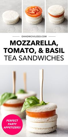 Looking for a new tea time sandwich idea? Try this recipe for mozzarella, tomato, and basil tea sandwiches! Perfect for afternoon tea time or for parties as appetizers, these bite sized sandwiches are easy to make. Click to check out the recipe! High Tea Sandwiches, Finger Sandwiches, Sandwich Recipes, Snack Recipes, Basil Tea, Hot Tea Recipes, Tea Time Snacks, Ham And Cheese, Appetizers For Party