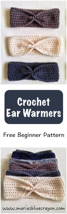 Warmer Free Pattern for Beginners Beginner pattern for crochet ear warmers using half-double crochet stitches. Easy to tailor a custom fit!Beginner pattern for crochet ear warmers using half-double crochet stitches. Easy to tailor a custom fit! Crochet Gifts, Diy Crochet, Crochet Baby, Crochet Ideas, Simple Crochet, Crochet Headbands, Crochet Braids, Crochet Clothes, Knit Headband