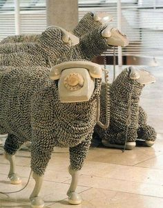Telephone Sheep Sculptures by Jean Luc Recycled art