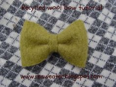 Make a recycled wool (felted sweaters) bow tie, hair bow, or dog collar bow in under 5 minutes with this easy tutorial!