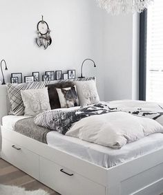 IKEA Brimnes with some changes. Love the photos and lights on hea. - IKEA Brimnes with some changes. Love the photos and lights on headboard - Small Bedroom Storage, Bed Frame With Storage, Full Bed Frame, Trendy Bedroom, Modern Bedroom, Modern Bedding, Luxury Bedding, Bed Frame And Headboard, Bedroom Decor