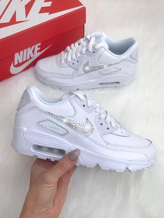 official photos 05625 87dbd Swarovski Nike Womens Girls Air Max 90 SE Leather Customized With Swarovski  Crystals Bling Nike Shoes