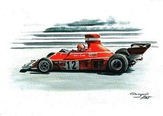 1974 Ferrari 312 B3,  Niki Lauda,  Clay Regazzoni.  Ferrari F1 collection ART by Artem Oleynik. This collection demonstrating Ferrari F1 racing cars since 1950 to 2016 and includes 96 pictures in oil on canvas. The size of each original picture is 25 x 35 cm.