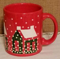 Vintage Waechtersbach Red Houses in Snow  Coffee Cup Mug West Germany VGC RARE #Waechtersbach
