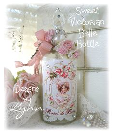 Shabby chic decorated bottle