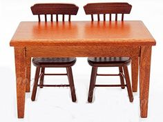 Dollhouse Furniture Brown Dinning Table  2 Chairs Set Dollhouse Kitchen Furniture Accessories ** More info could be found at the image url.