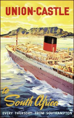 Union Castle Ship Line 1948 To South Africahttp://stores.ebay.com/Vintage-Poster-Prints-and-more