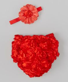 Look what I found on #zulily! Red Ruffle Petals Diaper Cover & Headband - Infant by Bébé Oh La La #zulilyfinds