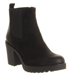 The Grace Heeled Chelsea by Vagabond is a sleek, feminine boot in burnished black nubuck with elastic inserts for easy pull on, heel tab and a chunky cleated sole. Suede Ankle Boots, Black Booties, Ankle Booties, Heeled Boots, Bootie Boots, Chelsea Boots Outfit, Black Chelsea Boots, Vagabond Shoes, Short Black Boots