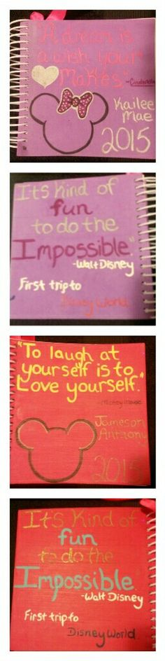 We recently went to disney world so I made my kids autograph books. I bought foam scrap books from our dollar store. Then with sharpies and acrylic paint I wrote a quote from their favorite character on the front, along with their names and of course mickey and minnie mouse. On the back I did the same Walt Disney quote that meant the most to me. To the spiral I attached a ribbon with a sharpie. (Sharpies are easiest for some characters to hold). Using the scrapbooks the paper was thick…