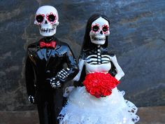 Day of the Dead Wedding Cake Topper  Shaved Head by dnacreations, $35.00